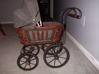Vintage Antique Doll Carriage Baby Buggy Pram Wood Wicker Metal