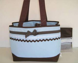 Baby Essentials Diaper Bag Blue & Brn Polka Dot Ribbon