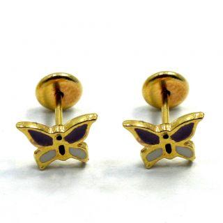 GF Little Earrings Purple Butterfly Earrings Infants Baby Girl Safety