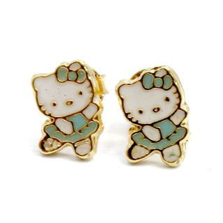 Gold 18K GF Earrings Baby Blue Hello Kitty Ballerina Girl Toddler