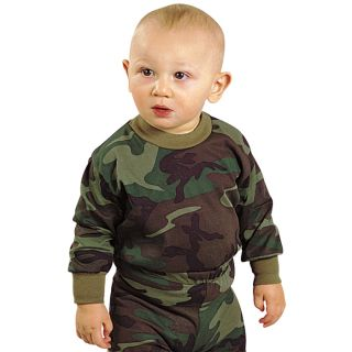 Military Infant Baby Woodland Camo Clothes Girl Boy Long Sleeve Shirt