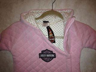 New Infant Baby Girls Harley Davidson Pink Velour Bundle Sac Bunting