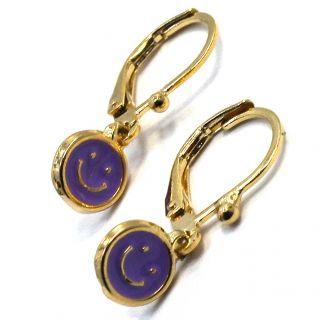 Gold 18K GF Earrings Purple Enamel Happy Face Leverback Dangle Girl