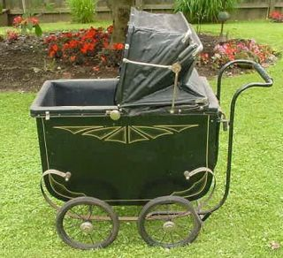 Antique Vintage Baby Carriage Pram Metal Wood Leather 1930s 40s