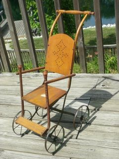 Antique Victorian Baby Doll Stroller Carriage Pram Wood Buggy Metal