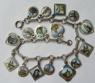Silver Enamel Mariazell Souvenir Charm Bracelet Mary Baby Jesus