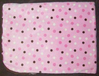 Koala Baby Pink Minky Cream Polka Dot Brown Sherpa Baby Blanket Girls