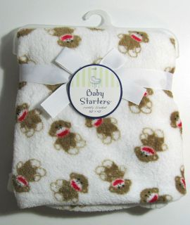 Rashti Baby Starters Baby Infants Boys Girls Blanket Sock Monkey White