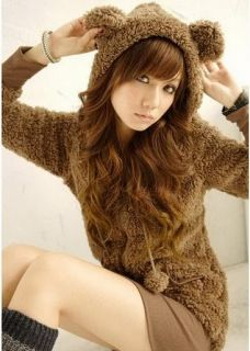 Girls Cute Lovely Brown Bear Ear Hoodie Sherpa Coat XS s 2 8