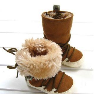 Winter Newborn Baby Toddler Brown Fleece Ski Proof Infant Boots Snow