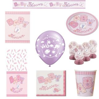 Girls Baby Shower Party Pack Decorations Tableware