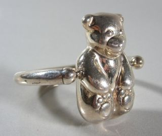 Tiffany Co Baby Infant Teething Ring Rattle Teddy Bear Sterling Silver