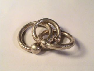 Vintage sterling silver baby teething ring rattle Tiffany SCRAP USE