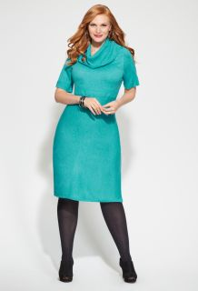 Avenue Plus Size Ribbed Cowl Neck Sweater Dress