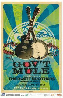 GovT Mule Avett Brothers Red Rocks 2010 Concert Poster