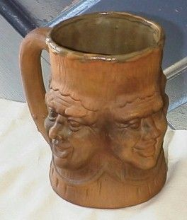 Vintage 1975 Pottery CA 1975 Grumpys 4 Faces w Little Man Inside of
