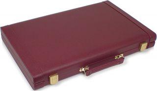 Burgundy Leatherette Backgammon Set Small 11 x 16 5