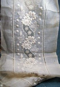 Exquisite Antique Cotton Ayrshire Whitework Lace Trim French Doll