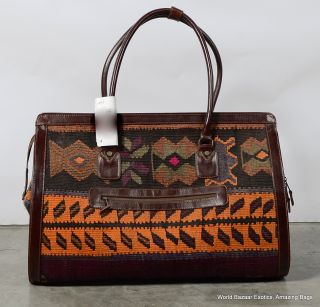 Large Travel Hand Bag Old Kilim w Top Quality Leather Handmade in