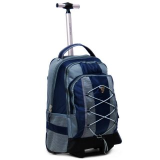18 Navy Rolling Backpack Wheeled College Bookbag Travel Carry on Used