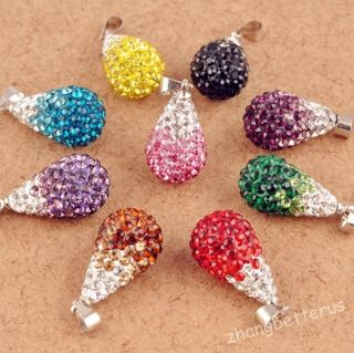 Austrian Crystal Pave Disco Clay Water Drop Beads Pendants Charms