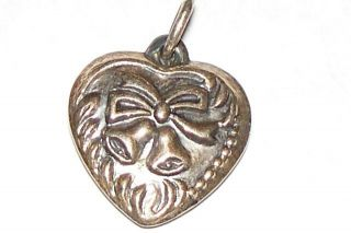Puffy Heart Victorian Antique Sterling Charm Repousse Wedding Bells