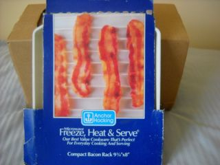 Anchor Hocking Compact Bacon Rack Microwave Rack Freeze Heat & Serve