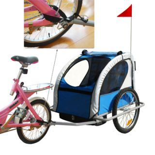 Aosom 2in1 Double Kids Baby Bike Bicycle Trailer Stroller Blue Jogger