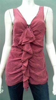 Bailey 44 Ladies Womens L Silk Tank Top Rose Pink Ruffle Sleeveless