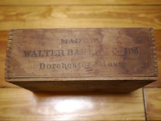 Antique Vintage 1900s Bakers Chocolate Wooden Wood Dovetail Box Crate