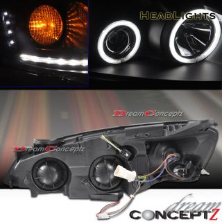 G6 DUAL CCFL HALO PROJECTOR HEADLIGHTS w/ L.E.D BLACK STYLE ANGEL EYE