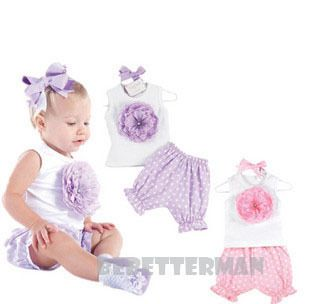 Infant Baby Clothes Girl Party Daisy Flower Set Vest Polka Dot Short