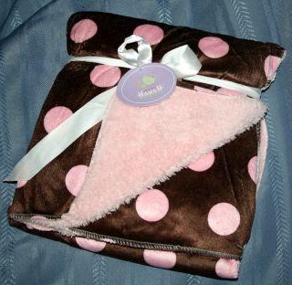 Baby Girls Pink Dots Brown Minky Plush Sherpa Blanket New