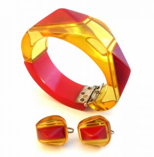 Art Deco Asymetric Geometric Bakelite Bracelet Earrings Set