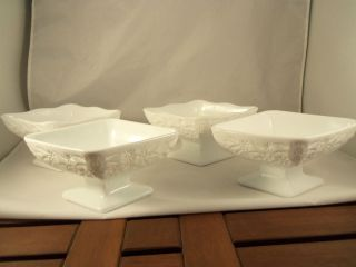 White Milk White Glass Flower Diamond Shape Sundae Banana Split Dishes