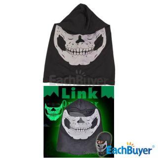Outdoor Motorcycle Glow Balaclava Skull Ghost Ski Mask Hood Fancy