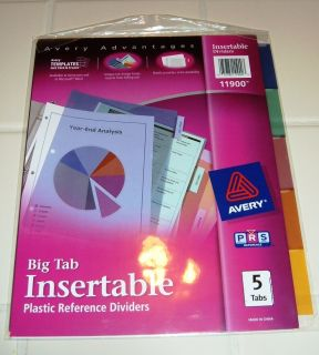 Lot of 2 sets   Avery Dennison 11900 Big Tab Color Plastic Insertable
