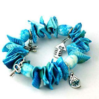 Shell Oval Beads Dangle Stretch Bangle Bracelet Fashion Jewelry