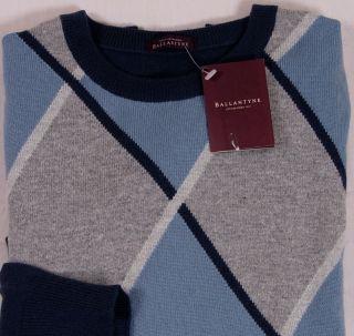 Ballantyne Sweater $990 Blue Gray Argyle 100 Cashmere Crewneck Med 50E