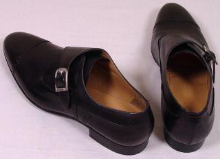 Bally Shoes $565 Black Captoe Logo Buckled Algar Monkstrap Dress Shoe
