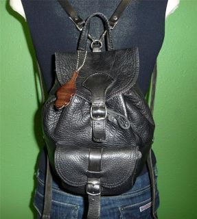 Vintage ROOTS Black Leather Medium Backpack Bag Tote Purse CANADA