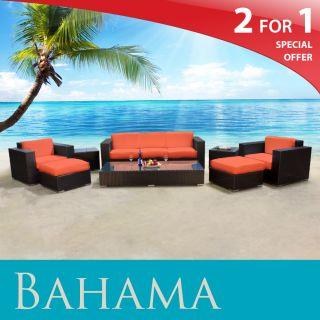 TK Classics Bahama Outdoor Wicker Patio Garden Furniture Set Tangerine