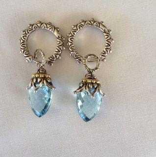 Barbara Bixby Sterling 18K Sky Blue Topaz Earrings