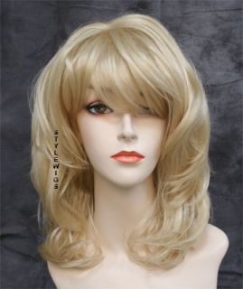 Full Body Flowing Waves w/ Bangs Pale Blonde Wavy Wig TIMV 613