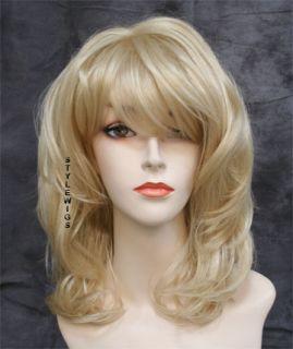 Full Body Flowing Waves w/ Bangs Pale Blonde Wavy Wig TIMV 613