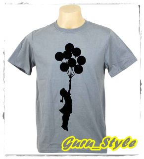 Banksy Balloon Girl Flying Man T Shirt Graffiti Street Art M
