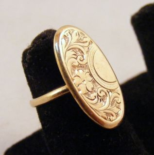 Estate Antique 14k Yellow Gold Beautifully Engraved Ring