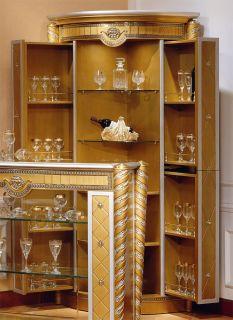 Antiqued Gold Silver 2 Door Bar Cabinet