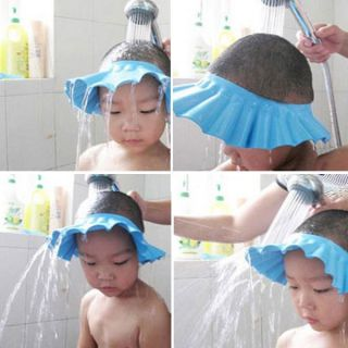 Baby Child Kid Shampoo Bath Shower Wash Hair Shield Hat Cap Blue