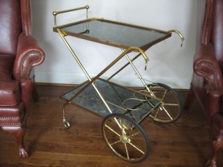Hollywood Regency Tea Beverage Serving Cart Table Bar Gilt Brass